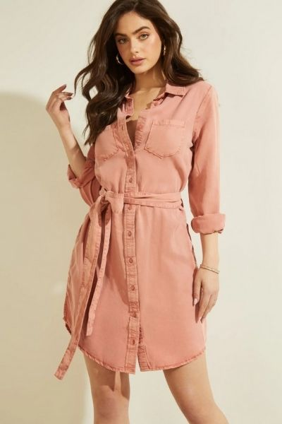 robe-chemisier-rose-guess