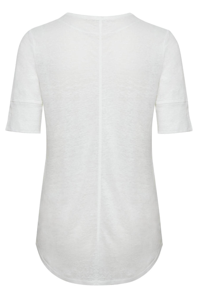 T-Shirt Blanc En Lin Part Texture
