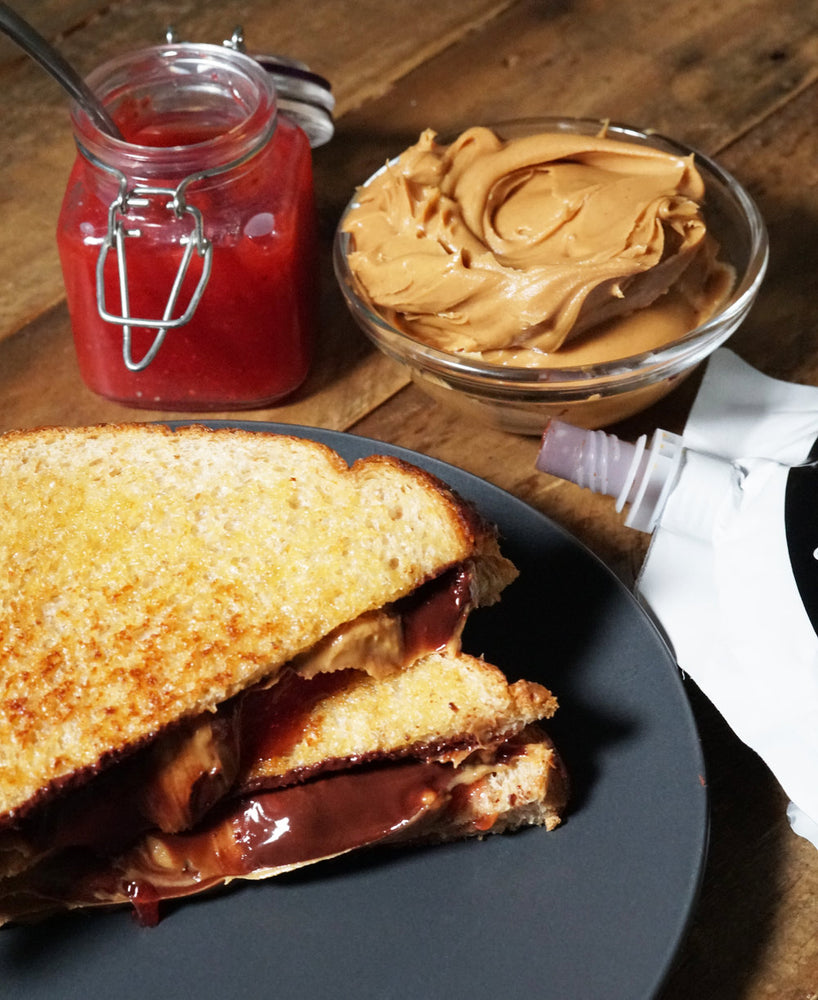 Peanut Butter Jelly and Chocolate Grilled Sandwiches