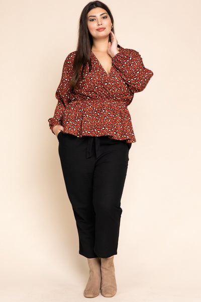 Plus size leopard print v neck long sleeve peplum top