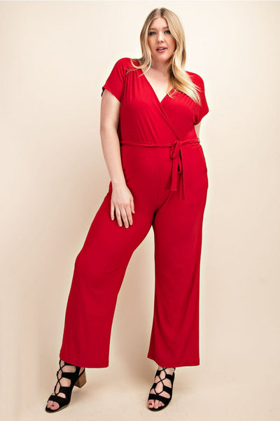 Plus Size Jumpsuit Featuring A Overlapped V-Neckline