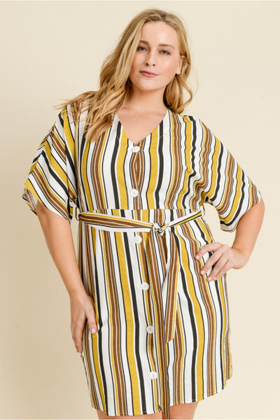 Plus Size Multi Stripe Dress With Front Tie
