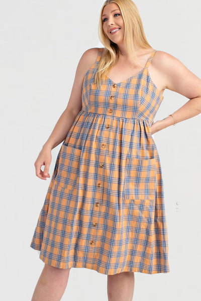 Plus Size Button Down With Patch Pocket Flare Dress
