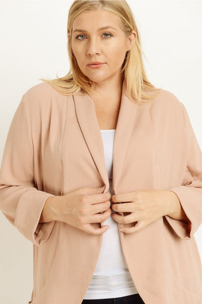 A Plus Size Solid Colored Shawl Neck Blazer