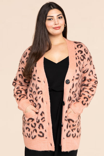 Plus Size Animal Jacquard Button Down Sweater Cardigan