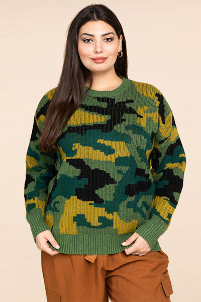 Plus Size Camoflauge Jacquard Knit Sweater