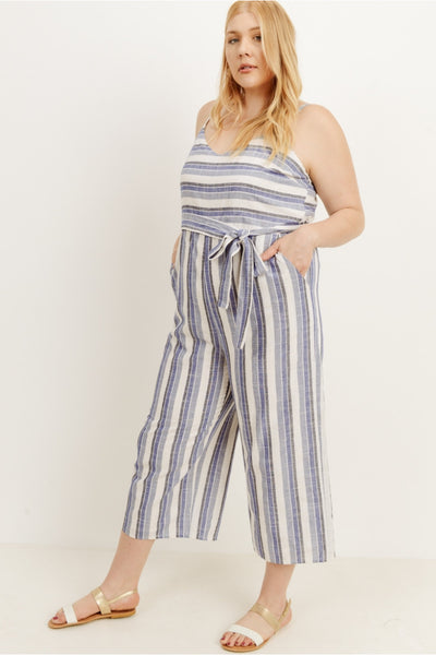 Plus Size Front Tie Stripe Jumpsuit