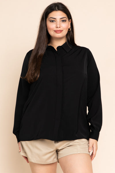 Plus Size Long Sleeve Hidden Placket Blouse