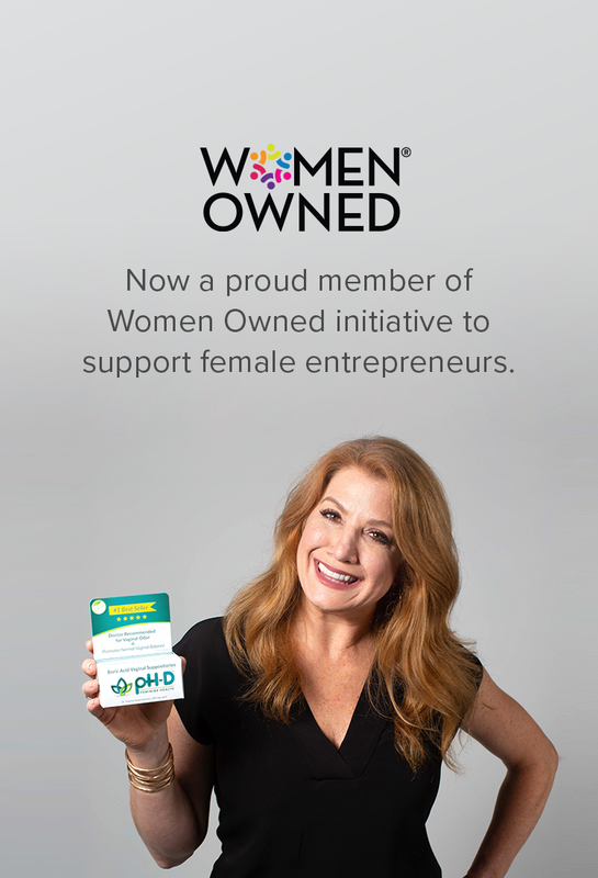 pH-D founder Deeannah Seymour holding boric acid suppositories, announcing membership in Women Owned initiative