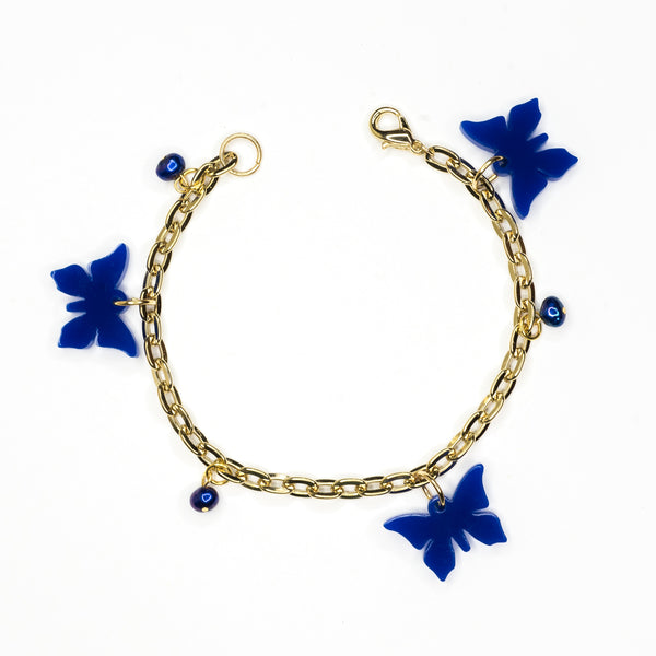 Blue Butterfly and Pearl Bracelet