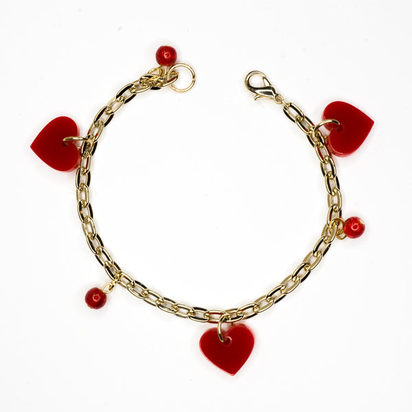 Red Heart and Bead Bracelet