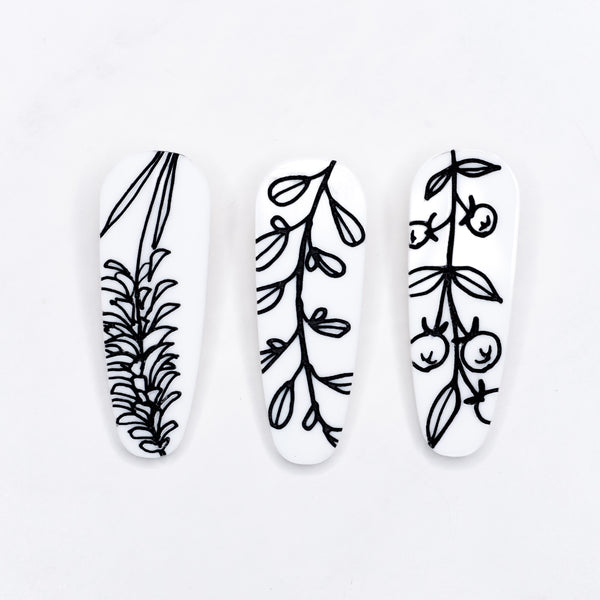 Black and White Floral Hair Clip Pack