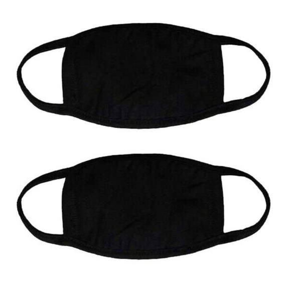 Black Ribbed Cotton Face Masks - Qty of 10