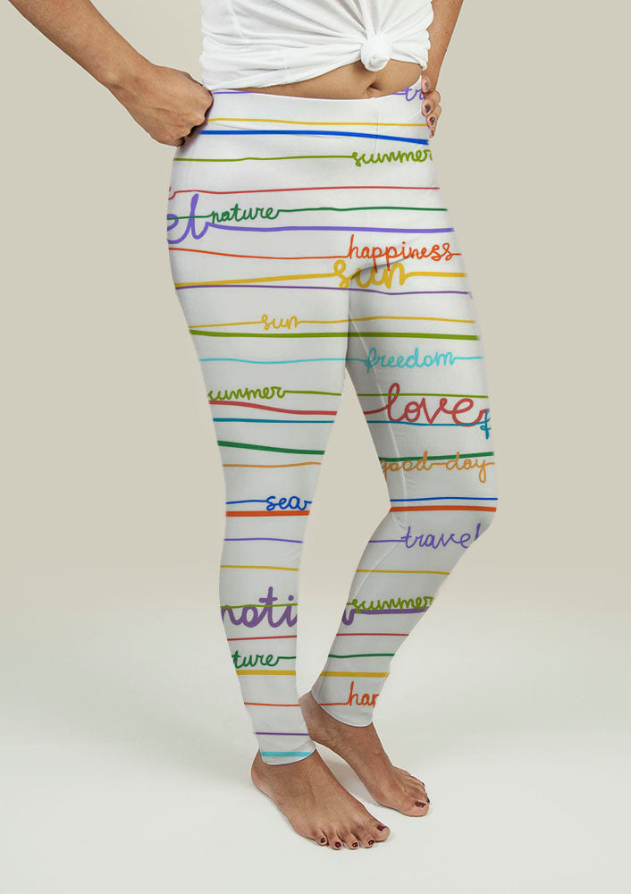 Leggings with Stripe Pattern with words