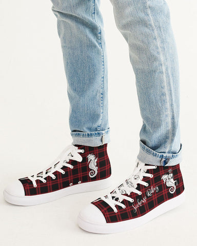 Nostalgic Plaid Vibes  Men's Hightop Canvas Shoe