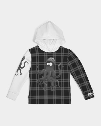 Nostalgic Plaid Vibes Black and Grey  Kids Hoodie