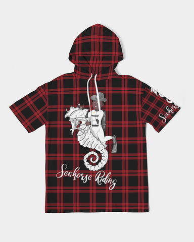 Nostalgic Plaid Vibes  Men's Premium Heavyweight Short Sleeve Hoodie