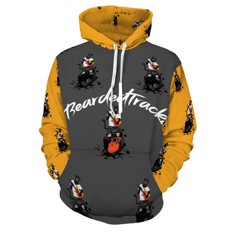 BeardedTracks Panther Hooded All Over Print Sweatshirt with Pockets