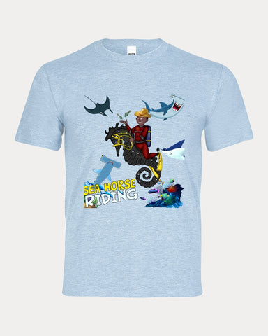 Seahorse Riding Main Artwork  Kids Graphic Tee