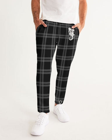 Nostalgic Plaid Vibes Black and Grey  Men's Joggers