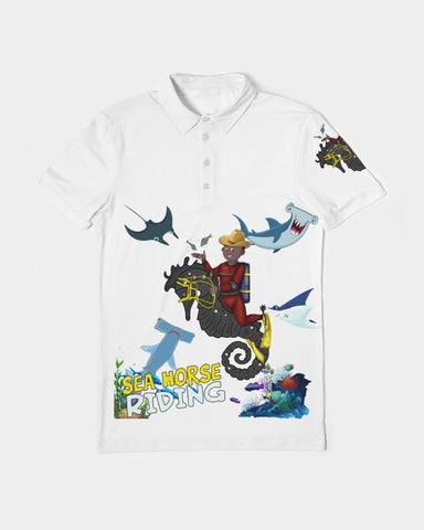 Seahorse Riding Gold Edition  Men's Slim Fit Short Sleeve Polo