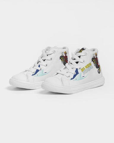 Sea Horse Riding  Kids Hightop Canvas Shoe