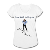 Lead with No Regrets Women's  V-Neck T-Shirt by Andre Nostalgic Brown Collection - white