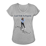 Lead with No Regrets Women's  V-Neck T-Shirt by Andre Nostalgic Brown Collection - heather gray