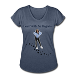 Lead with No Regrets Women's  V-Neck T-Shirt by Andre Nostalgic Brown Collection - navy heather