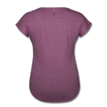 Lead with No Regrets Women's  V-Neck T-Shirt by Andre Nostalgic Brown Collection - heather plum