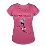 Lead with No Regrets Women's  V-Neck T-Shirt by Andre Nostalgic Brown Collection - heather raspberry