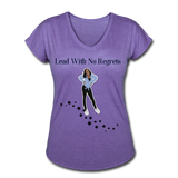 Lead with No Regrets Women's  V-Neck T-Shirt by Andre Nostalgic Brown Collection - purple heather