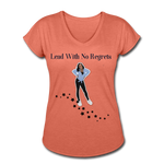 Lead with No Regrets Women's  V-Neck T-Shirt by Andre Nostalgic Brown Collection - heather bronze
