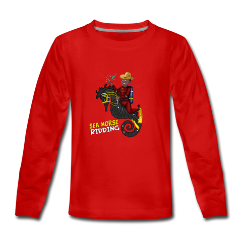 Sea Horse Kids' Premium Long Sleeve T-Shirt - red