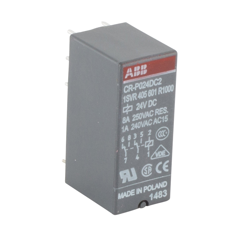 ABB 1SVR 405 601 R1000 Interface Relay, Plug-In, 8A, SPDT, 250VAC Rated, 24VDC Coil ABB 1SVR 405 601 R1000