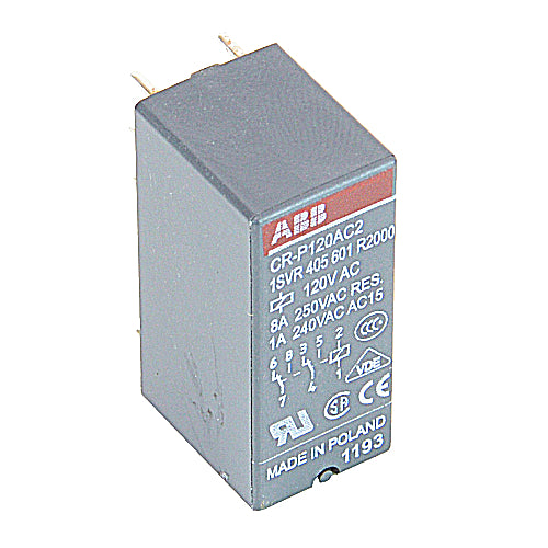 ABB 1SVR 405 601 R2000 Interface Relay, Plug-In, 8A, SPDT, 250VAC Rated, 120VAC Coil ABB 1SVR 405 601 R2000
