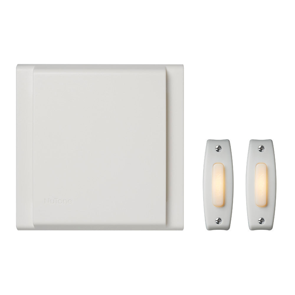 Nutone BKL342LWH Line Voltage Wired Doorbell w/ (2) LED Pushbutton Kit Nutone BKL342LWH