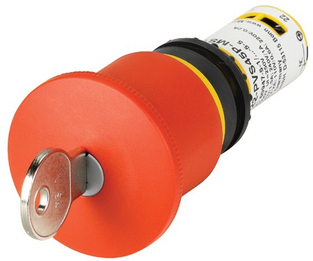 Eaton C22-PVS45P-MS1-K02 22mm Assembled Pushbutton, Red, C22 Eaton C22-PVS45P-MS1-K02