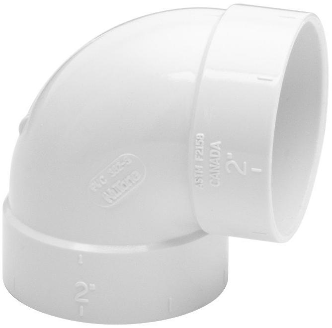 Nutone CF382S Sweep Elbow for Narrow Walls, 90° Nutone CF382S