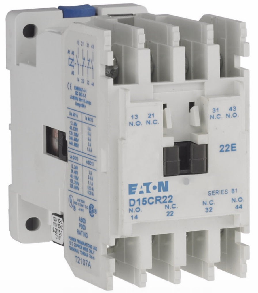 Eaton D15CR22CB Power Relay, Freedom, 15A, 480VAC Coil, 4P, 2NO/2NC Contacts Eaton D15CR22CB