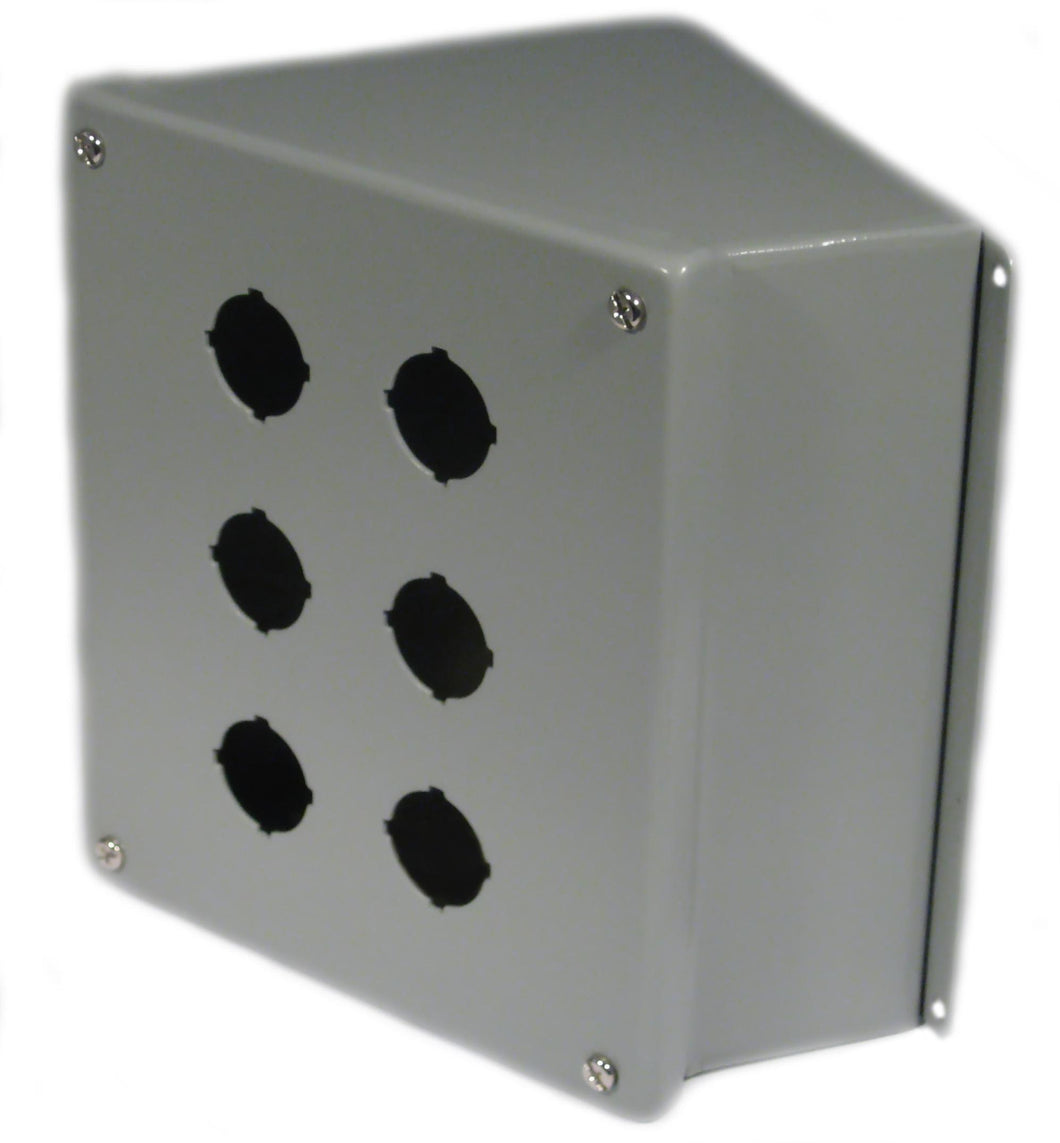nVent Hoffman E6PBA Enclosure, Pilot Device, 30mm, 6 Hole, Sloped Front, Steel, Type 12 nVent Hoffman E6PBA