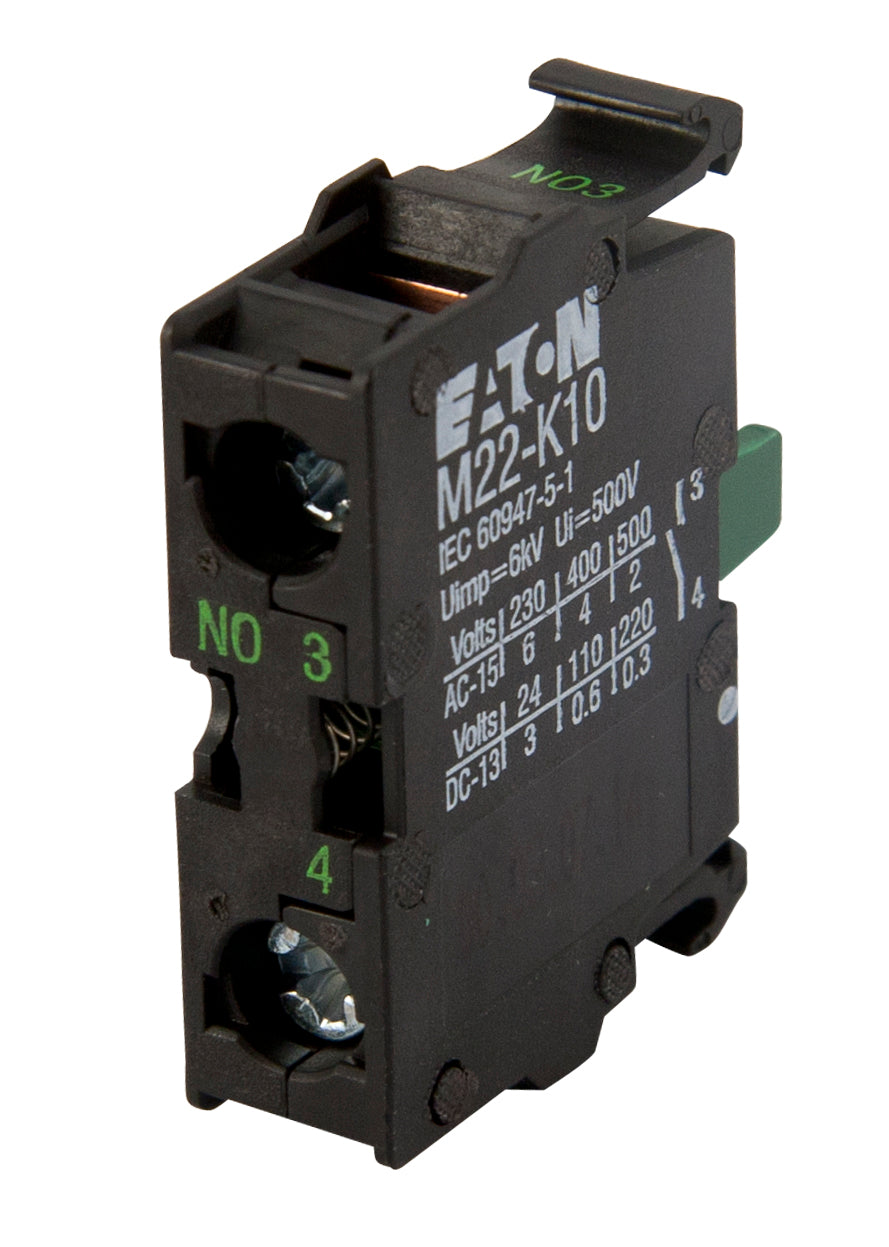 Eaton M22-K10 Contact Block, Plastic, Screw Clamp, 1NO Contact, 22.5mm Eaton M22-K10