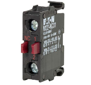 Eaton M22-KC01 Contact Block, 22.5mm, 1NC, Base Mount, M22, 600V Rated Eaton M22-KC01