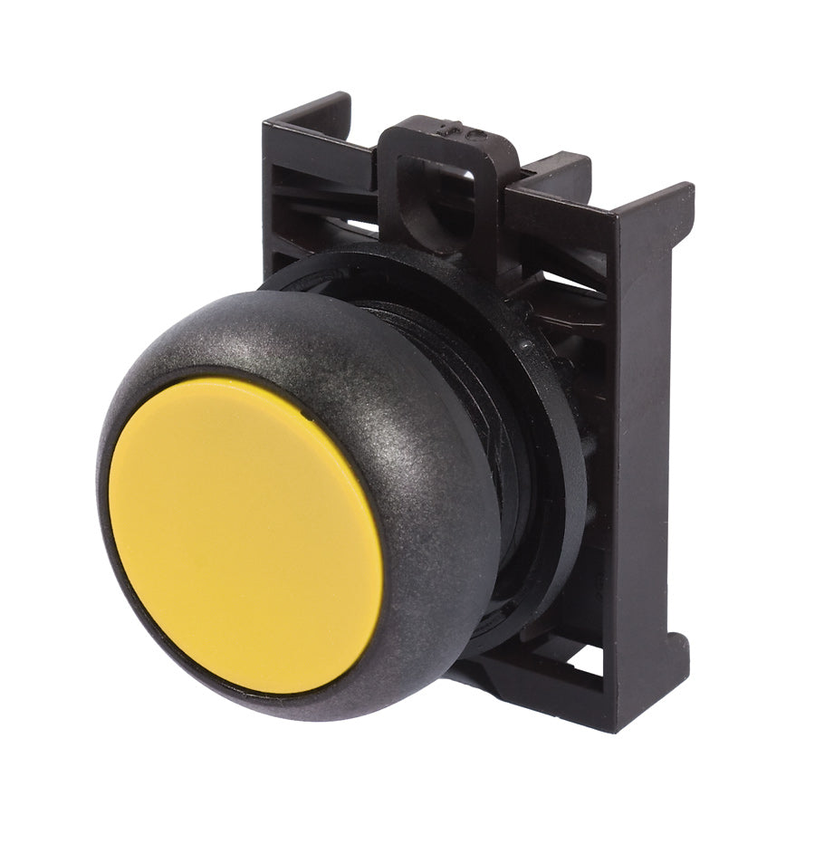 Eaton M22S-D-Y Flush Pushbutton, Yellow, M22 Eaton M22S-D-Y
