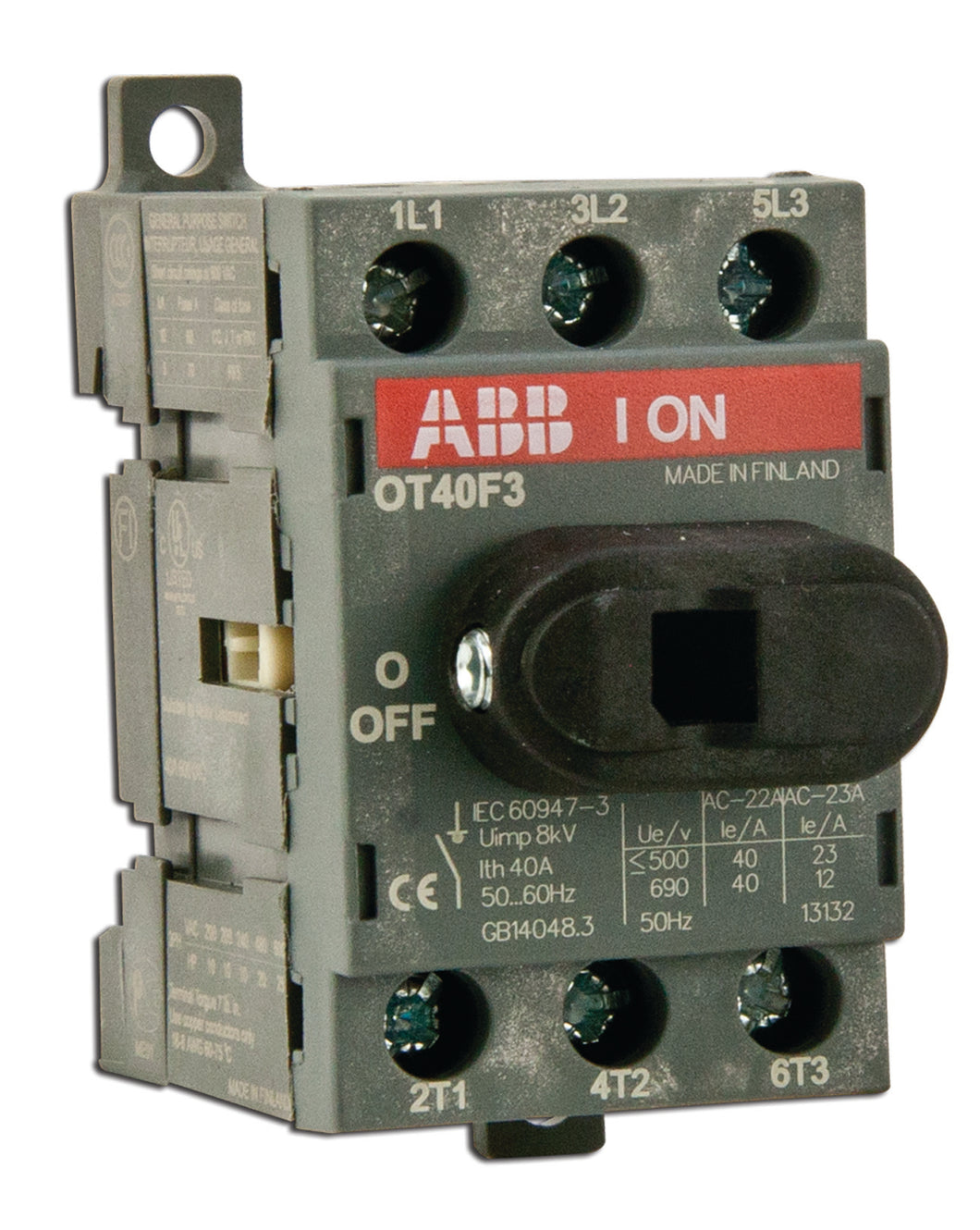 ABB OT40F3 Disconnect switch, Non-Fused, 40A, 3P, 690VAC, Front Operated ABB OT40F3
