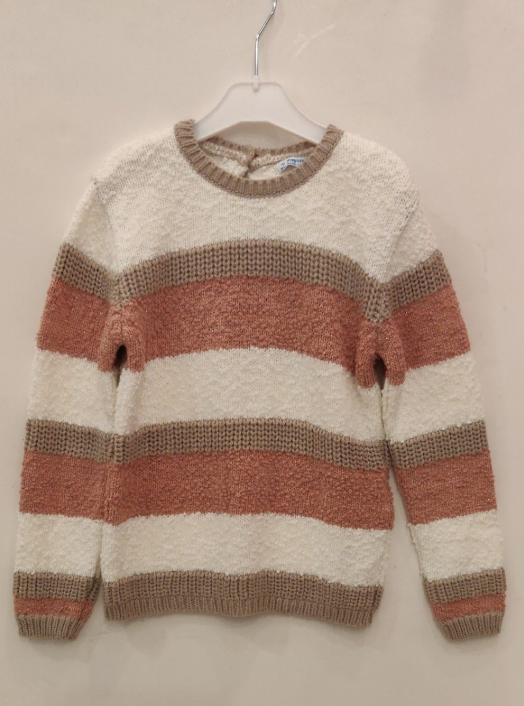 Pink, white and beige striped sweater