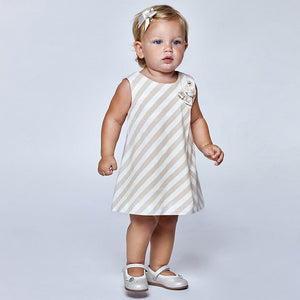 Striped knit dress for baby girl