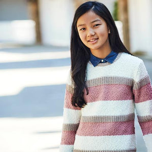 Striped knit sweater for girl