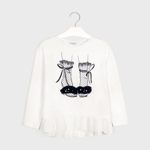 Long sleeved combined shoes t-shirt for girl