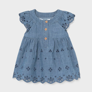 Perforated denim dress for newborn girl